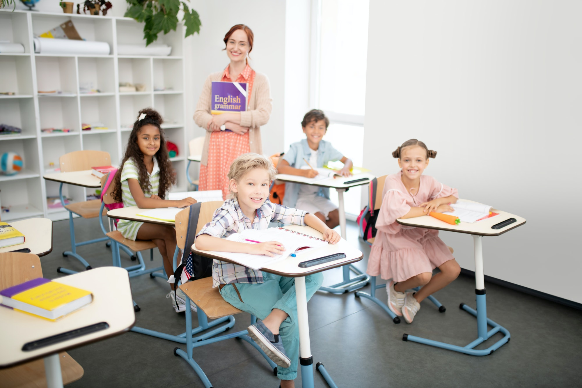 Children feeling excited before having first English class