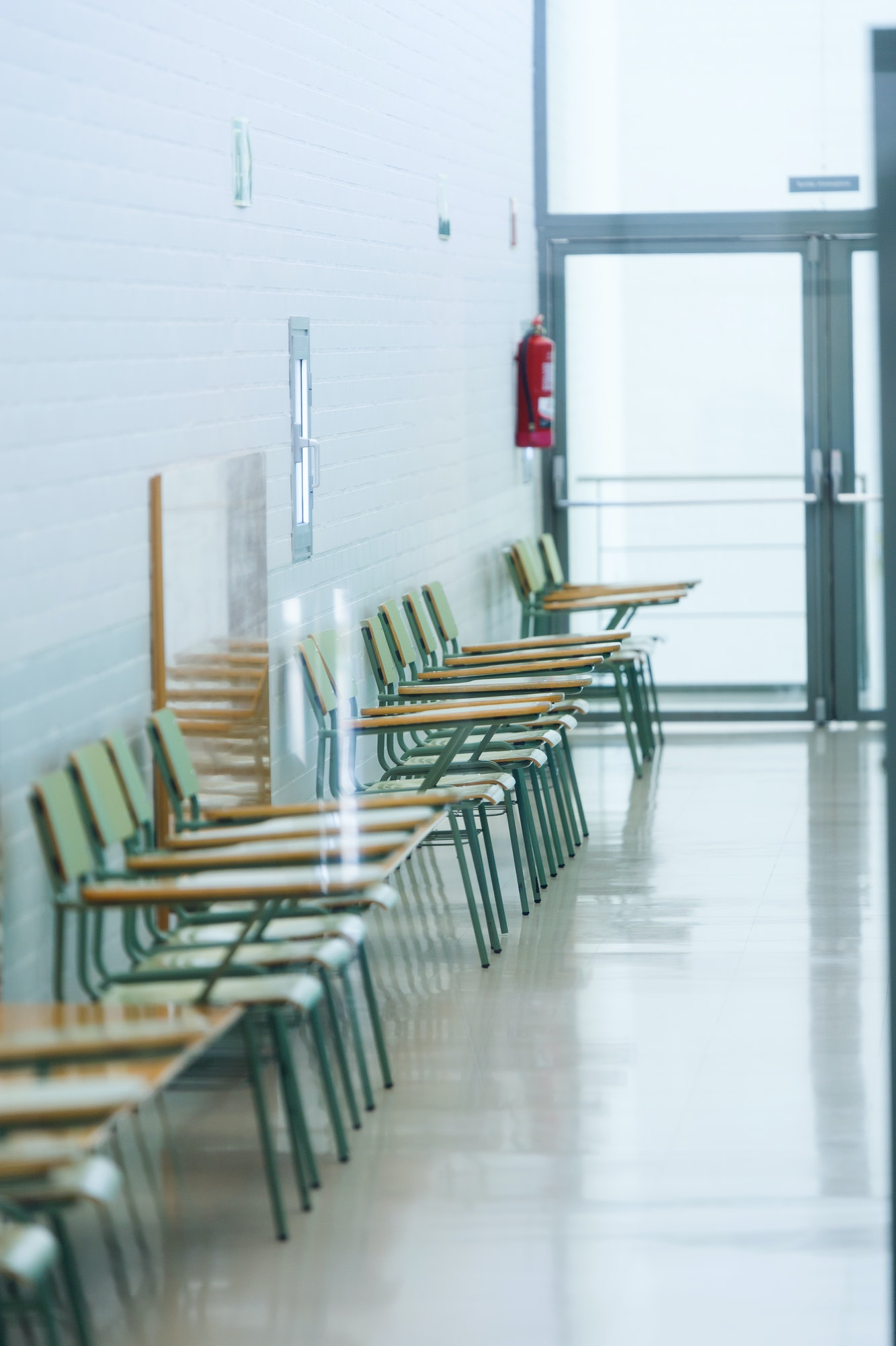 School chairs in the university building.